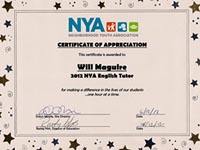 Neighborhood Youth Assn., receiving a Certificate of Appreciation - Law Offices of William E. Maguire, Specializing In Trademark and Copyright Law, TrademarkEsq, TMEsq